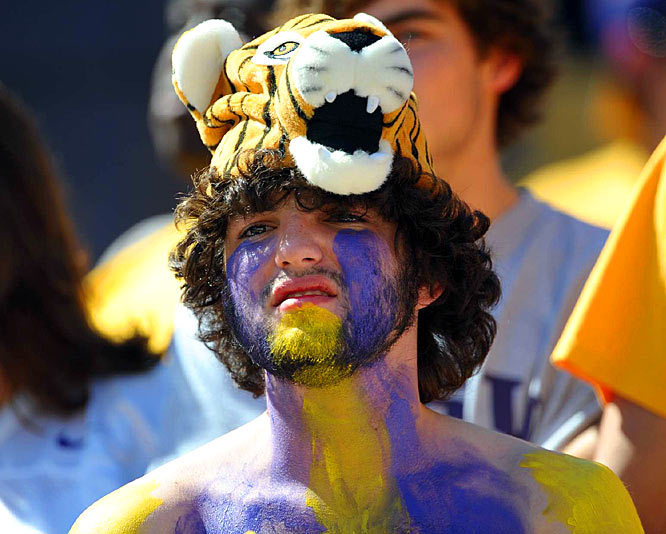 This LSU fan might have started frowning as he watched his Tigers fall to the Georgia Bulldogs, but the Tiger on his head kept on smiling.