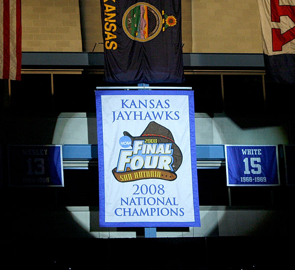 If Kansas fans seemed a little more excited for this year's Late Night at Phog, it might be because the night included the raising of the national championship banner.   Late Night also gave fans a chance to see the new faces who will be defending the title -- the Jayhawks return only two players who saw significant playing time on last year's squad.