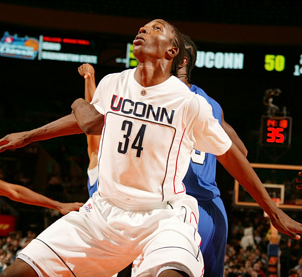 The 7-foot-3 Thabeet, pictured, (10.5 ppg, 7.9 rpg, 4.5 bpg) was named national Defensive Player of the Year last season after breaking Alonzo Mourning's Big East record for blocks. Scouts who saw Thabeet's newly aggressive post game this summer expect him to become more of an offensive force -- or at the very least, a more forceful dunker -- as a junior. Adrien, meanwhile, is the team's steadiest veteran, leading them in minutes played (33.8 mpg), points (14.8 ppg) and rebounds (9.1 rpg).