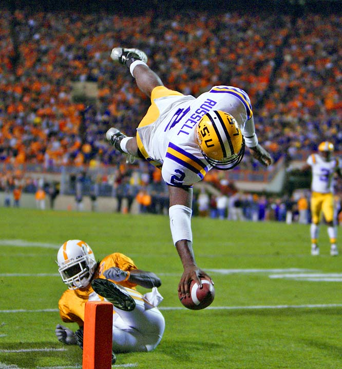 As the starting quarterback for LSU in 2007, JaMarcus Russell led the Tigers to a win over Notre Dame in the Sugar Bowl.  In this photo in 2006, he completed 24-of-36 passes for 247 yards to bring the No. 13 Tigers past Tennessee in a regular-season matchup.