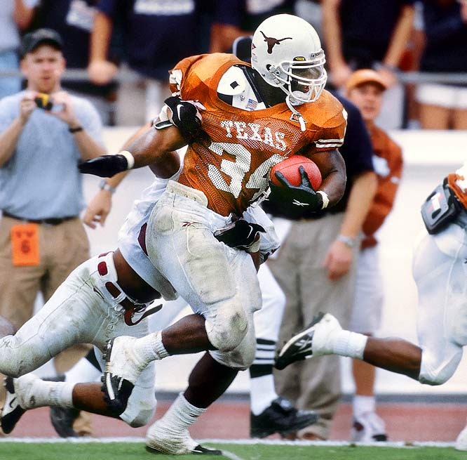Before his controversial days in the NFL, Ricky Williams had a brilliant career as a running back at Texas, winning the 1998 Heisman.  He still holds the records at Texas for most rushing yards in a game, season and career.