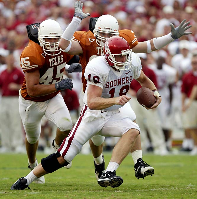 On his way to the Heisman Trophy, Oklahoma quarterback Jason White threw four touchdown passes as the Sooners routed the Longhorns 65-13. Mark Clayton posted a school-record 190 yards receiving for Oklahoma, whose defense collected six turnovers in the most lopsided game in the series' history.