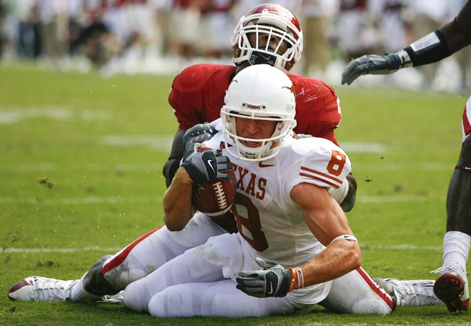 In the highest scoring game ever played between these two schools, Texas outpaced Oklahoma, 45-35, in front of a crowd of 92,182 fans, the most ever for a Red River Rivalry game. Jordan Shipley led the Longhorns with 11 catches for 112 yards and a touchdown and a 96-yard  kickoff return for a touchdown. The loss knocked the undefeated Sooners from the No. 1 ranking.