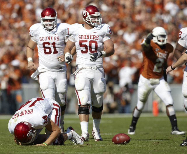 Sooner quarterback Sam Bradford, who was returning to action after an early-season shoulder injury, was knocked out of the game early after re-aggravating his shoulder. Landry Jones filled in and threw for 250 yards but the Longhorns, led by QB Colt McCoy, prevailed 16-13.