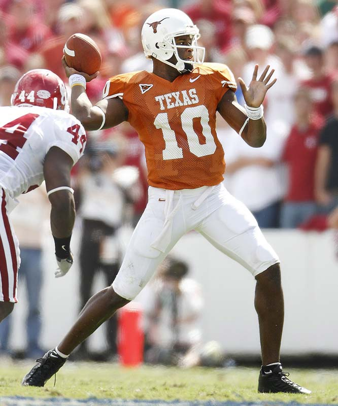In the 100th meeting between the teams, Texas rolled to a 45-12 victory. The win snapped a five-game Sooners winning streak in the series and helped propel the Longhorns to the BCS Championship. Quarterback Vince Young led the offensive juggernaut, throwing for three touchdowns and racking up 45 yards on the ground.