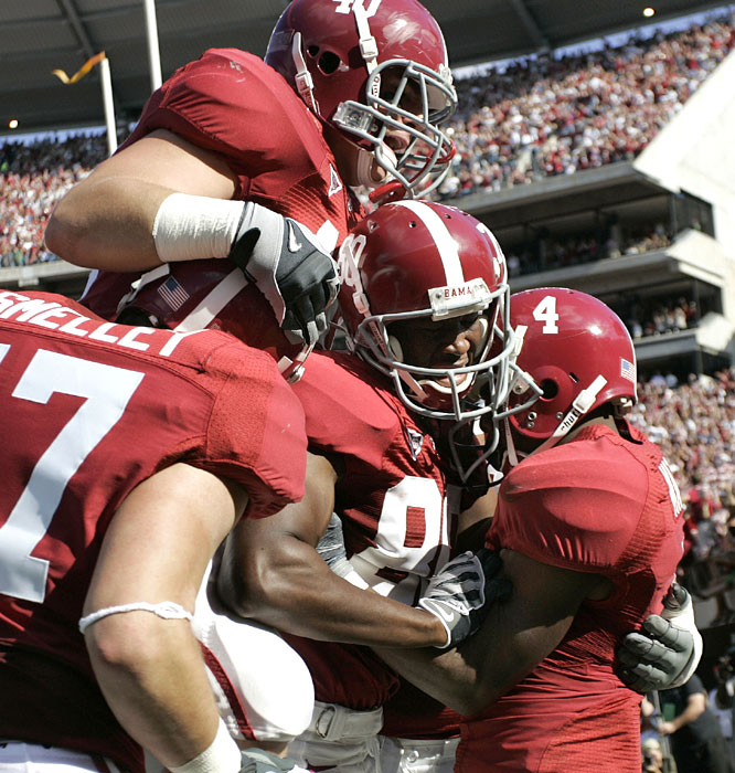 Marquis Maze (4) hauled in a 26-yard touchdown pass from John Parker Wilson in another close win for the Crimson Tide, who have won their past two games by a total of seven points.