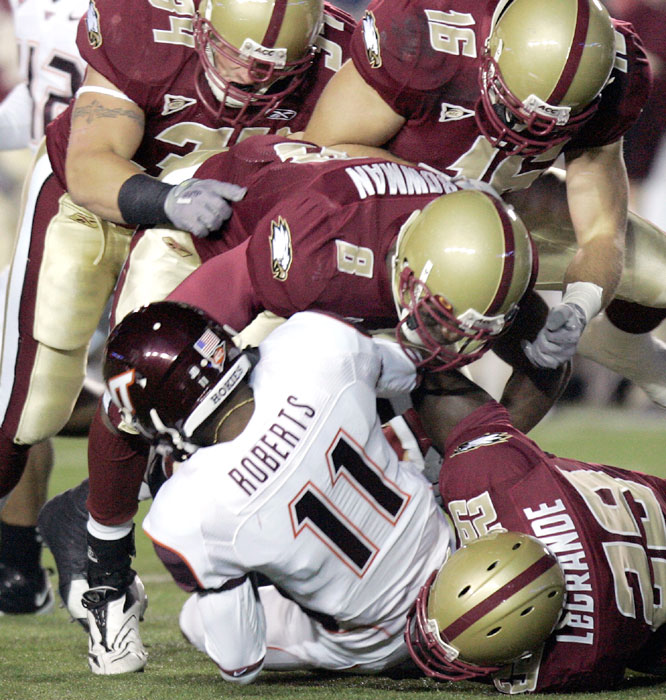 The Boston College defense limited Dyrell Roberts and the Virginia Tech offense to a season-low 240 yards in ending the Hokies' five-game winning streak.