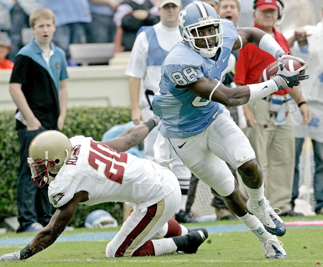 Hakeem Nicks (right) had three second-quarter touchdown receptions and ran for another TD in the fourth as the Tar Heels knocked off Boston College.