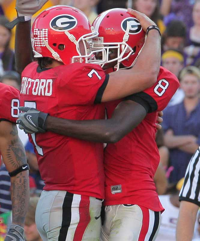 Who could've envisioned the Bulldogs hanging a half-hundred on LSU at Death Valley? But that's exactly what happened, thanks to QB Matt Stafford (249 yards, 2 TDs) and freshman WR A.J. Green (89 yards, 1 TD). Next up for Georgia: A date with No. 5 Florida.