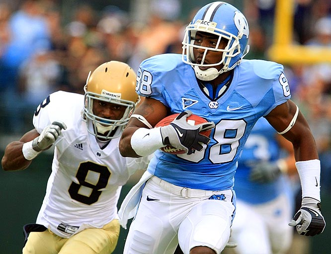 Hakeem Nicks had nine catches for 141 yards to help the No. 22 Tar Heels beat the Fighting Irish 29-24.