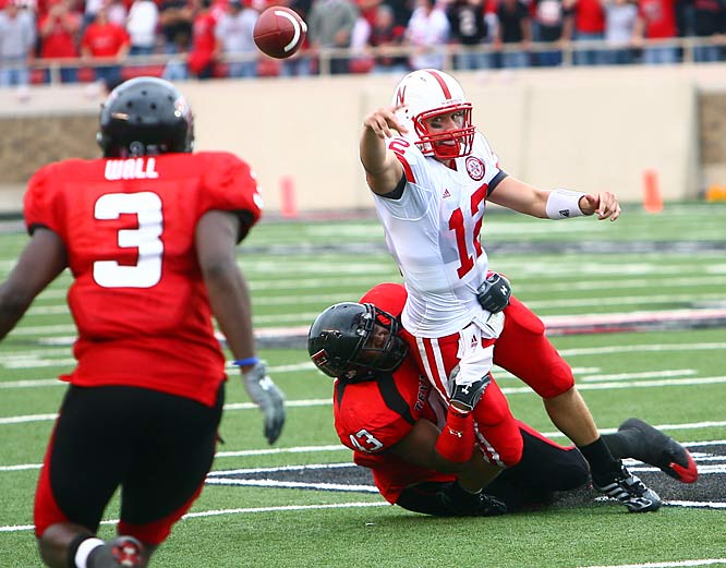 Nebraska quarterback Joe Ganz was trying to throw the ball out of bounds. Instead, he threw it right to Texas Tech defensive back Jamar Wall. The overtime interception ended a huge Cornhuskers comeback, and preserved the Red Raiders' win.