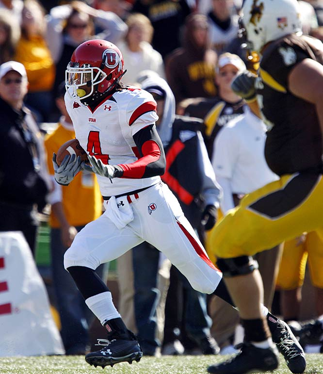 Defensive back Sean Smith returned an interception 25 yards for a touchdown four minutes into the game as Utah's defense and special teams scored three of the team's five touchdowns against Wyoming.