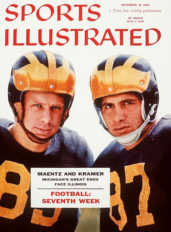 In the mid-`50s, the Wolverines had two of the best all-around players in the country. Ron Kramer, a two-time All-America, and Tom Maentz, team captain in 1956, were two of the finest pass-catching ends in the country. They also played defense and even punted the ball.