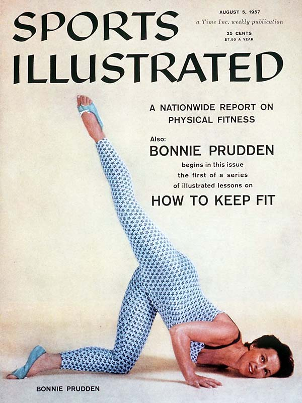 As a physical fitness craze swept the nation in the `50s, Sports Illustrated was there to tell people about it. In this cover from August of 1957, Bonnie Prudden demonstrates that the first step in being fit is finding a star-covered cat suit.