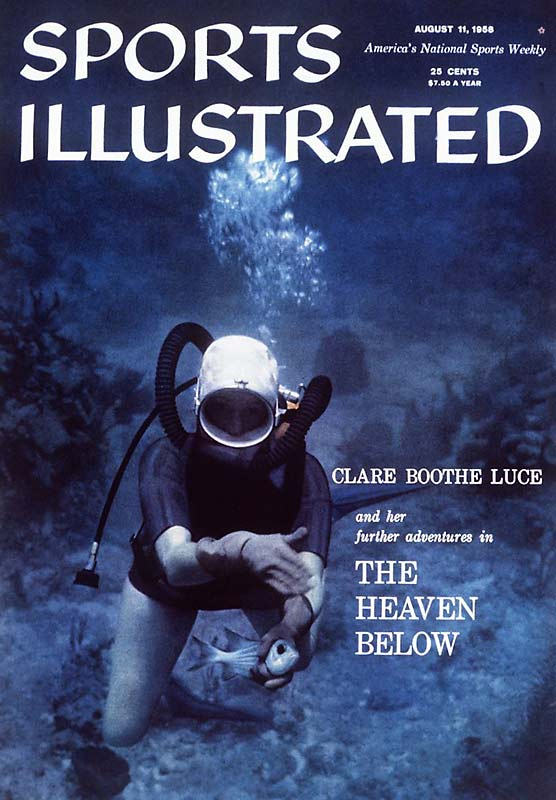 For this 1958 cover, Sports Illustrated's photographers went underwater with Clare Boothe Luce to capture her scuba diving and catching fish with her bare hands.