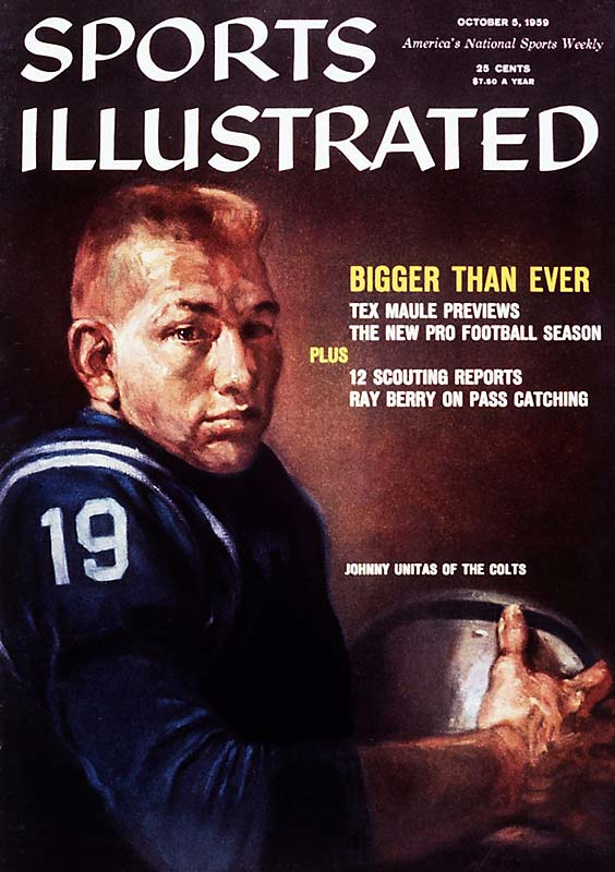 In one of the magazine's all-too-rare ventures into the world of major sports during the 1950s, SI gave its readers a preview of the 1959 pro football season. Johnny Unitas made the cover after leading his Colts to a 23-17 victory over the Giants in the greatest game ever played.
