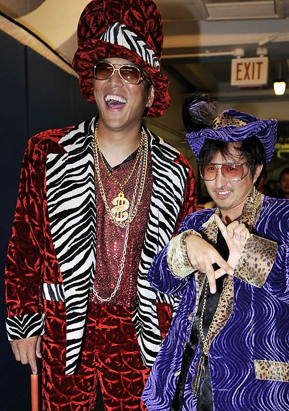 Another victim of hazing, Hiroki Kuroda of the L.A. Dodgers dons a pimp costume to fulfill his rookie duties. That's creepy and scary, all in one.