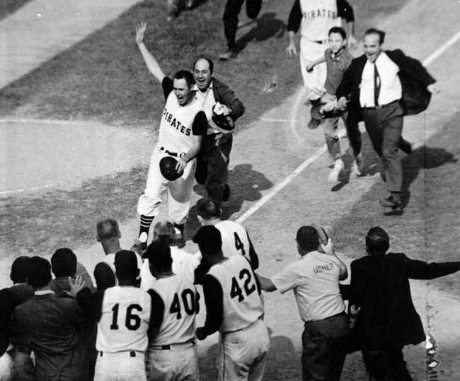 At Forbes Field, Bill Mazeroski's dramatic ninth inning home run off Yankee hurler Ralph Terry breaks up a 9-9 tie and ends one of the most exciting seven-game World Series ever played.