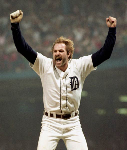 With the Tigers leading 5-4 in the eighth inning of Game 5 of the World Series, Kirk Gibson hits his second home run of the game, a three-run blast to the upper deck in right field, putting the game out of reach and giving the Motor City its fourth World Championship in franchise history.