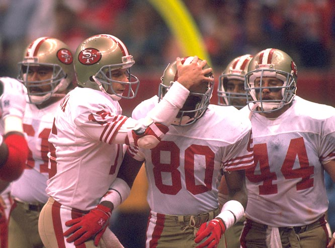 In a 45-35 victory over Atlanta, San Francisco's Joe Montana passes for 476 yards and six touchdowns. Five of the touchdowns are thrown to Jerry Rice, who finishes the day with 13 receptions for 225 yards.
