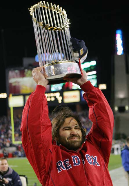 The Red Sox become the first team in baseball history to win a best-of-seven series after losing the first three games. Johnny Damon's two home runs, including a grand slam in the fourth, and Derek Lowe's solid pitching performance helps Boston claim the ALCS.