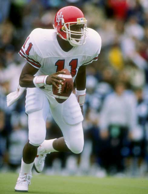 Led by Heisman Trophy winner Andre Ware, the Houston Cougars ran up 1,021 yards against Southern Methodist University in a 95-21 rout of the Mustangs.