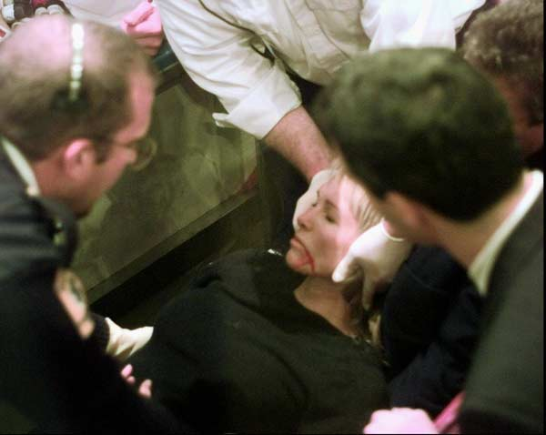 During a Rangers-Blackhawks game, a piece of plexiglass falls on Wayne Gretzky's wife, Janet, knocking her unconscious.