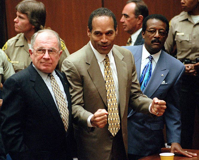 O. J. Simpson is found not guilty in the murder of Nicole Simpson and Ron Goldman.