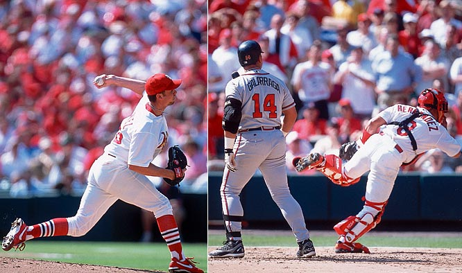 Against the Braves, Cardinal rookie starter Rick Ankiel sets a modern day major league record by uncorking five wild pitches in the third inning of Game 1 of NLDS.