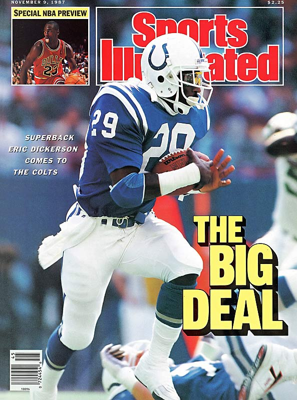 In a three-team deal involving 10 players and/or draft choices, the Rams trade Eric Dickerson to the Colts for six draft choices and two players. Buffalo obtains the rights to Cornelius Bennett from Indianapolis, sending Greg Bell and three draft choices to the Rams. The Colts add Owen Gill and three draft choices of their own to complete the deal.