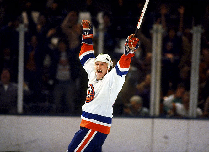 In a 7-4 victory over the Penguins, Islander Mike Bossy records his 25th career hat trick.