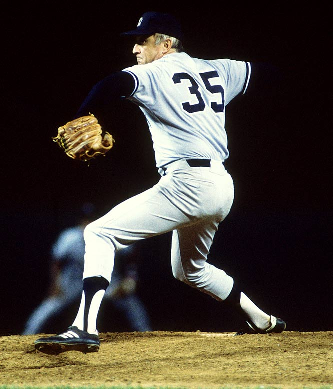 On the last day of the season, Yankee knuckleballer Phil Niekro becomes the 18th and oldest player in major league history to win his 300th game as he blanks the Blue Jays, 8-0. The forty-six year and 188 days old, who will win 318 games, also surpasses Satchel Paige (46 yrs, 75 days) to become the oldest pitcher to throw a shutout in the big leagues.