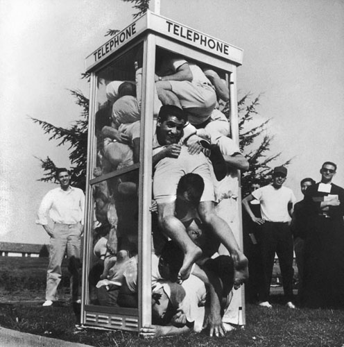 In a world before iPhones, 22 male students at Saint Mary's College in Moraga, Calif., decided in 1959 that telephone-booth stuffing was one fad that wasn't going to pass them by. Although associated largely with American universities, particularly those on the left coast, this pastime actually originated in South Africa, where 25 college kids set a world's record.
