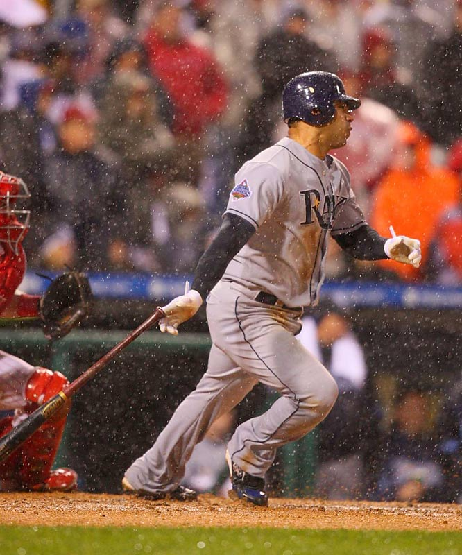 Hitless going into Game 3, Pena came through when the Rays needed him the most. In a driving rain, he stroked the game-tying single into left to plate B.J. Upton.
