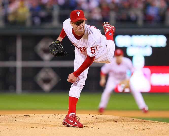 Forty-five-year old Jamie Moyer became the second-oldest pitcher ever to start a World Series game. He turned in a gem, tossing 6.1 innings, striking out five and allowing three earned runs. He turned the ball over to the bullpen with a lead.