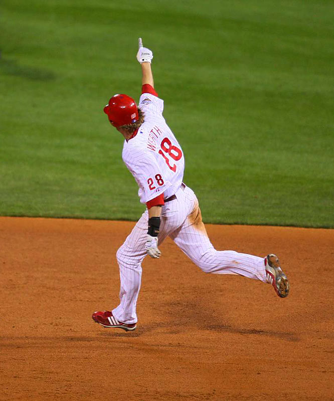 Jayson Werth put the Phillies out of reach in the eighth inning with a two-run home run off Dan Wheeler. It was Werth's first home run of the World Series, and it gave Philadelphia an 8-2 lead.