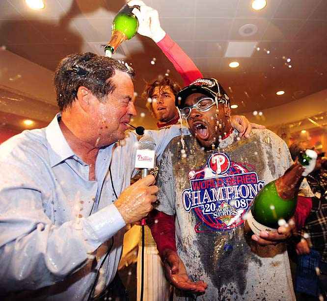 Jimmy Rollins gets a champagne shower from right fielder Jayson Werth. The team's vocal leader, Rollins hit .227 in the World Series. Werth, on the other hand, hit .444 with a home run and three RBI.