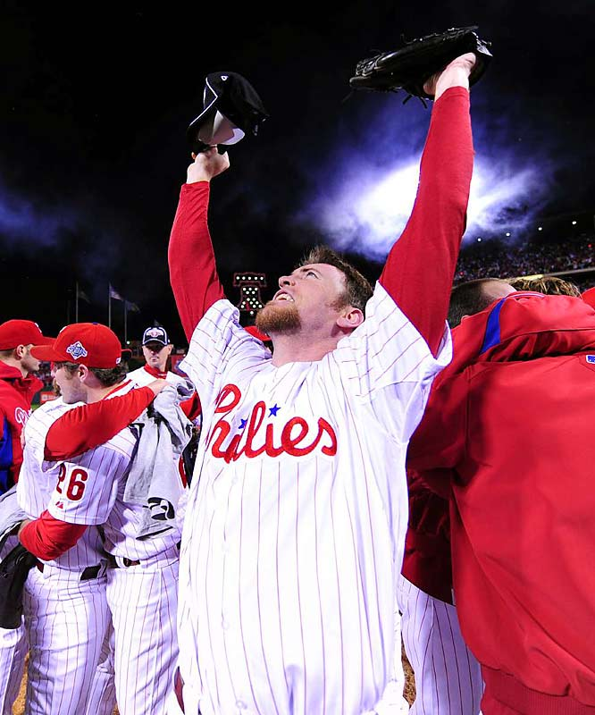With a slider to Eric Hinske, Brad Lidge completed his own perfect season, and gave the Phillies their first World Series championship in 28 years. Lidge finished the World Series with two saves and three strikeouts in two innings pitched.