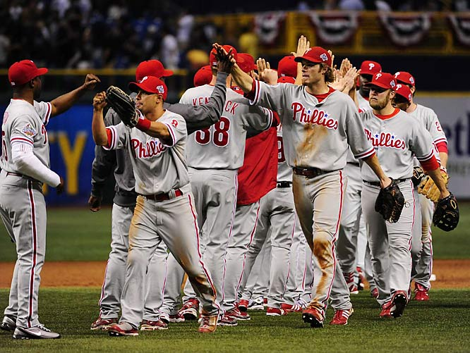The Phillies celebrated their 3-2 win. The team that won the opener has captured the Series 63 of 103 times, including 10 of the last 11. But the team with home-field advantage has taken 18 of the last 22 titles.