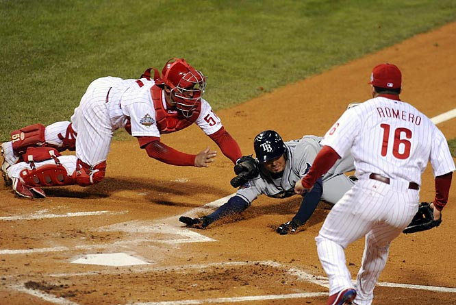 With the score tied, two out in the seventh and Jason Bartlett on second, Chase Utley and Carlos Ruiz paired up for the biggest defensive play of Game 5. Utley gloved Akinori Iwamura's groundball, realized he didn't have a play at first and threw home to Ruiz, who dove to tag Bartlett.