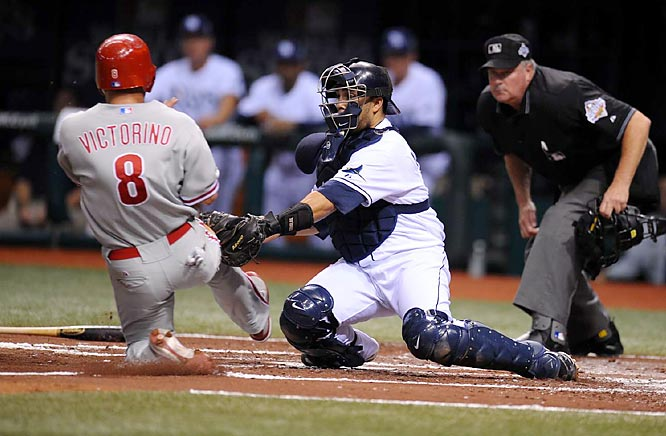 Although Victorino was tagged out in the second inning (pictured), he later scored what proved to be the game-winning run on a groundball by Carlos Ruiz in the fourth.