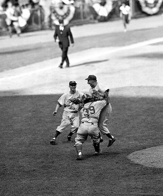The Dodgers won their only World Series in Brooklyn thanks to Johnny Podres' two complete game wins, including a shutout in Game 7.