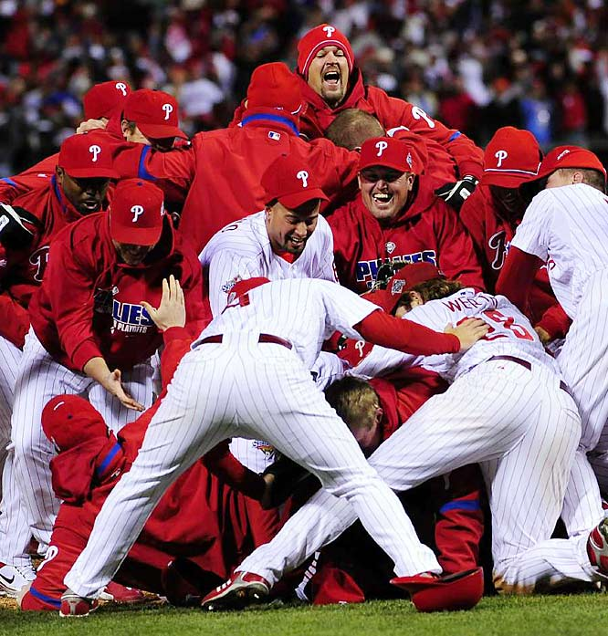 Cole Hamels took home MVP honors -- with a 1-0 record and a 2.77 ERA in two starts -- and the Phillies won their first World Series since 1980. The 28-year spell between championships equaled the fourth-longest span in Major League history.