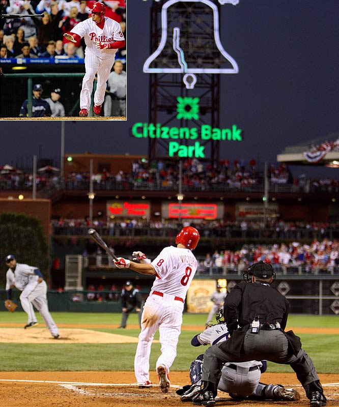 Brett Myers allowed two runs and two hits in seven innings. But his base on balls at the plate against CC Sabathia in the second inning -- after a memorable nine-pitch battle against the Milwaukee ace -- enabled Shane Victorino's game-breaking grand slam, which helped the Phils take a commanding two-games-to-none lead in the NLDS.