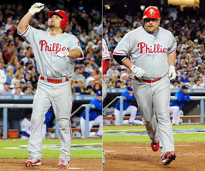 Shane Victorino and Matt Stairs slammed a pair of two-run homers in the eighth inning as the Phillies completed a dramatic come-from-behind victory to take a three-games-to-one lead in the NLCS.