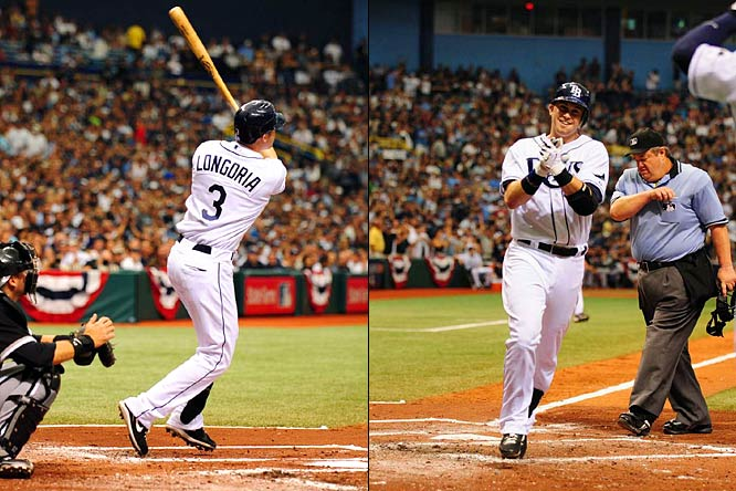 Evan Longoria accomplished what only one other person in major league history has previously done -- hit a home run in each of his first two postseason at-bats, matching Gary Gaetti's feat from 1987. The likely AL Rookie of the Year, who swatted 27 homers in his debut season, went deep on his first two playoff swings in the Rays' 6-4 Game 1 victory over the White Sox in the AL Division Series.