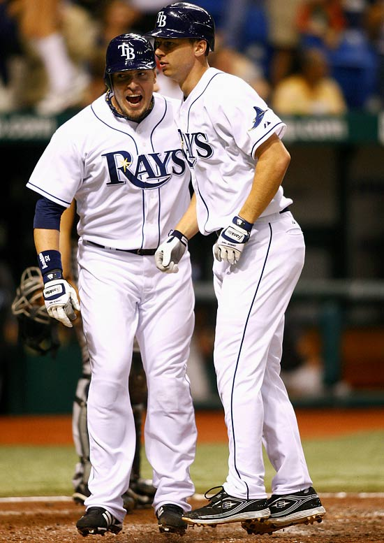 Tampa Bay carried a seven-game losing streak into the All-Star break -- and many believed it was the beginning of the Rays' end. On the brink of an eighth consecutive loss, the Rays got a two-run, seventh-inning homer from Ben Zobrist (right) off Toronto's A.J. Burnett to get back on track. In its first 13 series after the break, Tampa Bay went 12-0-1 to maintain its AL East lead.