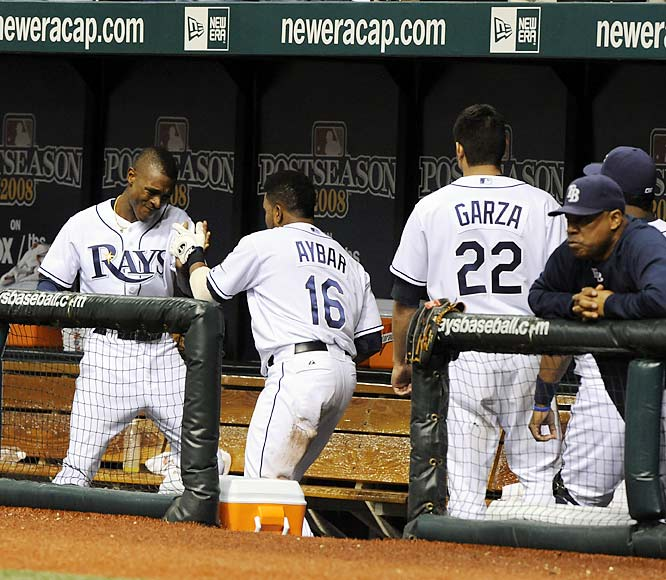 ALCS MVP Matt Garza looks on as Rays players congratulate Willy Aybar. Tampa Bay's DH, Aybar went 2-3 in Game 7 with a home run, a double and two runs scored.