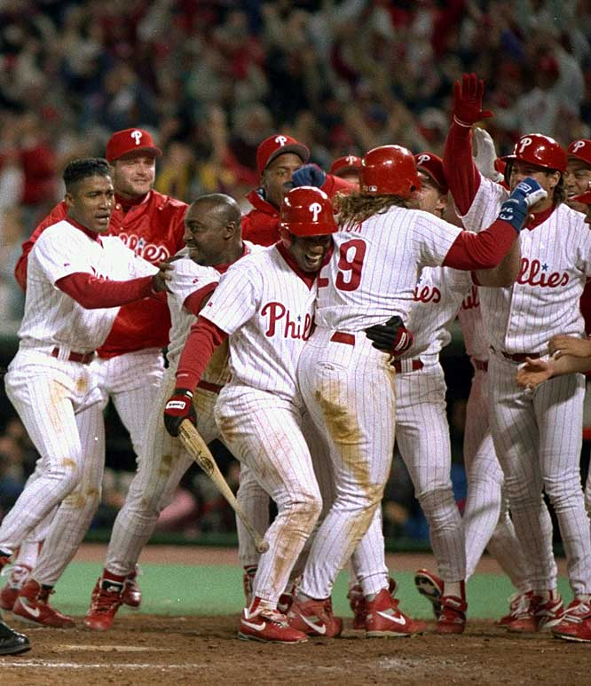 Keyed by attitude and sporting mullets, the '93 Phillies relied on a veteran cast of colorful characters to reverse their fortunes. Tough, scrappy players like Darren Daulton, John Kruk, Lenny Dykstra and Curt Schilling led the way as the Phils toppled the favored Atlanta Braves in the NLCS and moved on to the World Series.