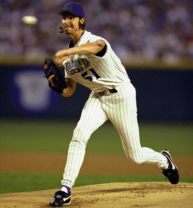 The expansion Diamondbacks lost 97 games in their inaugural season of 1998, but the signing of star left-handed pitcher Randy Johnson in the offseason dramatically altered their fortunes. Johnson went on to win the first of four straight Cy Young awards in 1999 and the Diamondbacks finished with 100 victories. They captured the NL West title by 14 games but fell to the Mets in the Division Series.